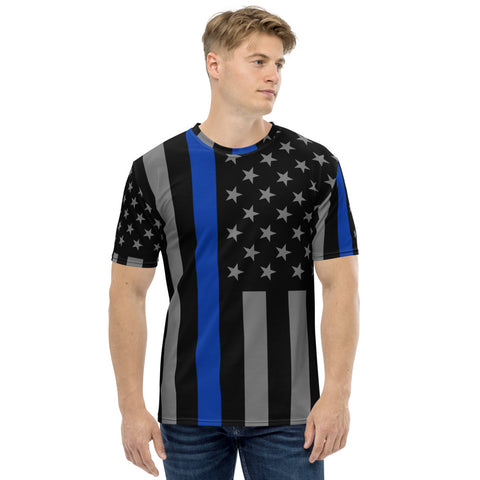 Thin Blue Line Flag All Over Print Men's T-shirt