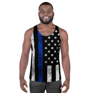 Thin Blue Line Flag Distressed Dovargo Unisex Tank Top