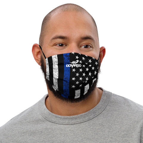 Thin Blue Line Flag Distressed Dovargo Premium face mask