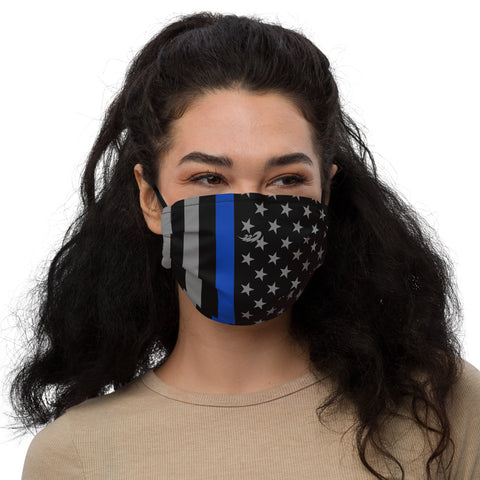 Thin Blue Line Flag Premium face mask