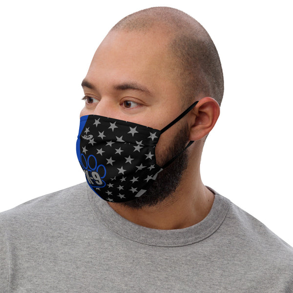 Thin Blue Line Flag K-9 Premium face mask