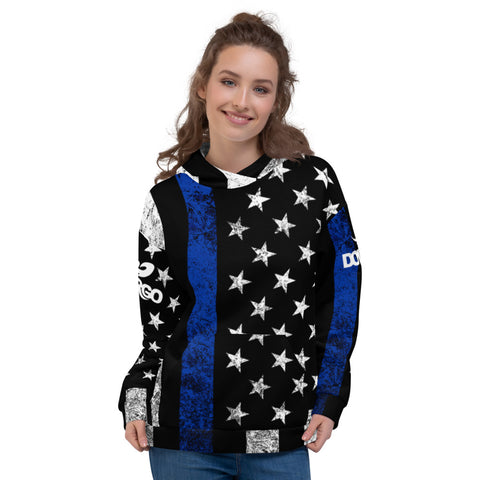 Thin Blue Line Flag Distressed Dovargo Unisex Hoodie