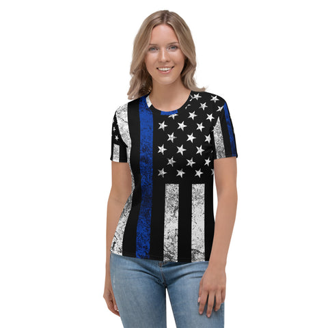 Thin Blue Line Flag Distressed Women's T-shirt