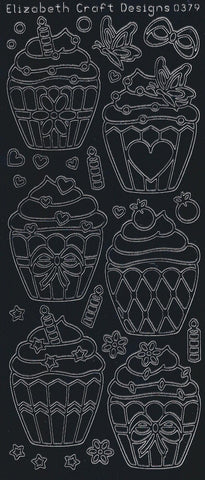 0379be - Cupcakes - black - Elizabeth Craft Designs Stickers