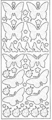 0818 - Butterflies - silver pearl - Starform Stickers