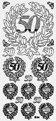 0817j - 50th Wreath - black - JeJe Stickers