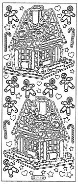 0987g - Gingerbread House  - gold - Starform Stickers