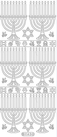 1143s - Menorah - silver - Starform Stickers