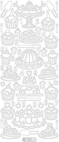 1201 - Desserts 1 - silver - Starform Stickers