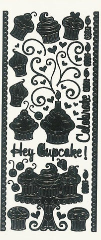 2012z - Hey Cupcake! - black - Dazzles Stickers