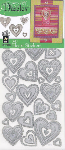 2085z - 3D Hearts - silver - Dazzles Stickers