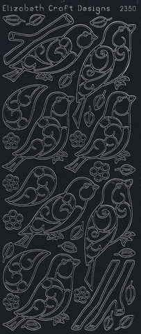 2350be - Birds/Branches - black - Elizabeth Craft Designs Stickers