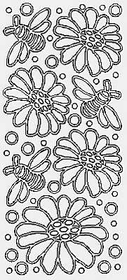 3720j - Flowers/Bees - gold - JeJe Stickers
