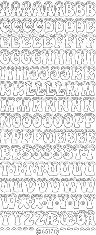8517sp - Snow Capped Letters - silver pearl - Starform Stickers