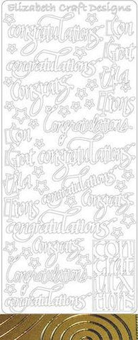 9323k - Congratulations - silver - Elizabeth Craft Designs Stickers