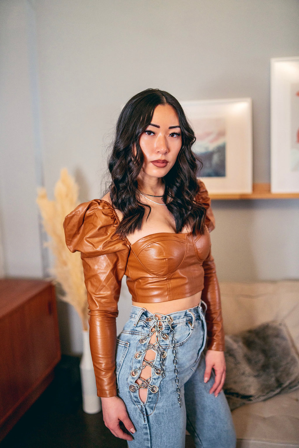 Rue Vegan Leather Puff Sleeve Crop Top