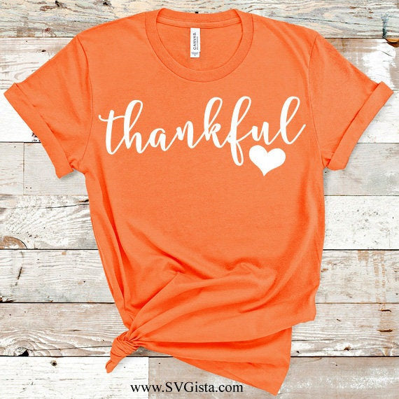 Thankful Svg, SVG, Fall SVG, Thanksgiving Svg, Autumn Svg, Thankful Heart Svg, Fall Shirt Svg, SVG, Cricut File, Silhouette