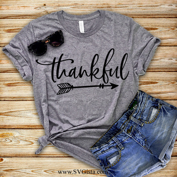 Thankful Svg, SVG, Fall SVG, Thanksgiving Svg, Pumpkin Svg, Thankful Arrow Svg, Fall Shirt Svg, SVG, Cricut File, Silhouette