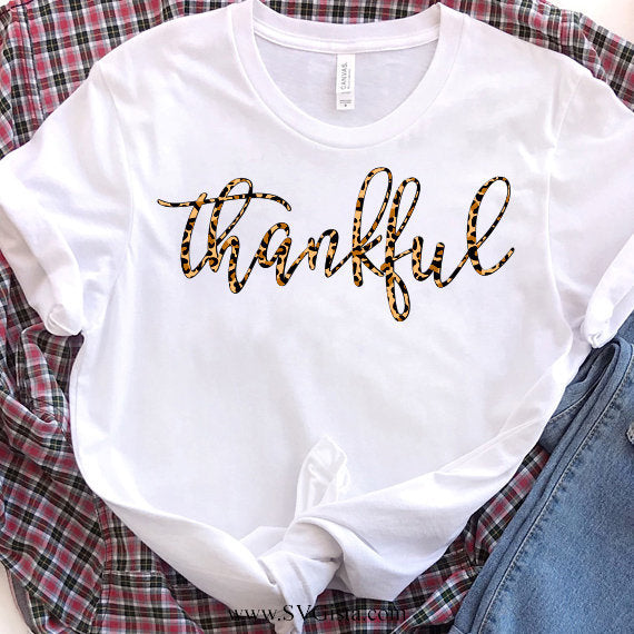 Thankful Leopard Print Svg, SVG, Fall SVG, Thanksgiving Svg, Thankful Svg, Thankful Shirt, Svg, Fall Shirt Svg, SVG, Cricut File, Silhouette