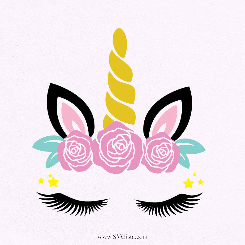 Unicorn Svg, Unicorn Head Svg, Flowers Unicorn Head, Svg, Cricut Cut Files, Silhouette Cut File, Cricut - ClipartAccess