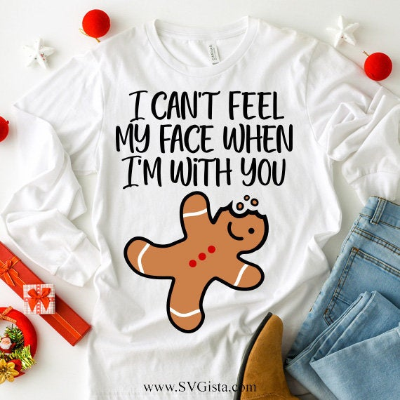 I Cant Feel My Face SVG, Gingerbread Man Svg, Christmas Svg, Svg, Silhouette Cut File, Cricut Cut Files, Svg Files, SVG Cut File, Cricut