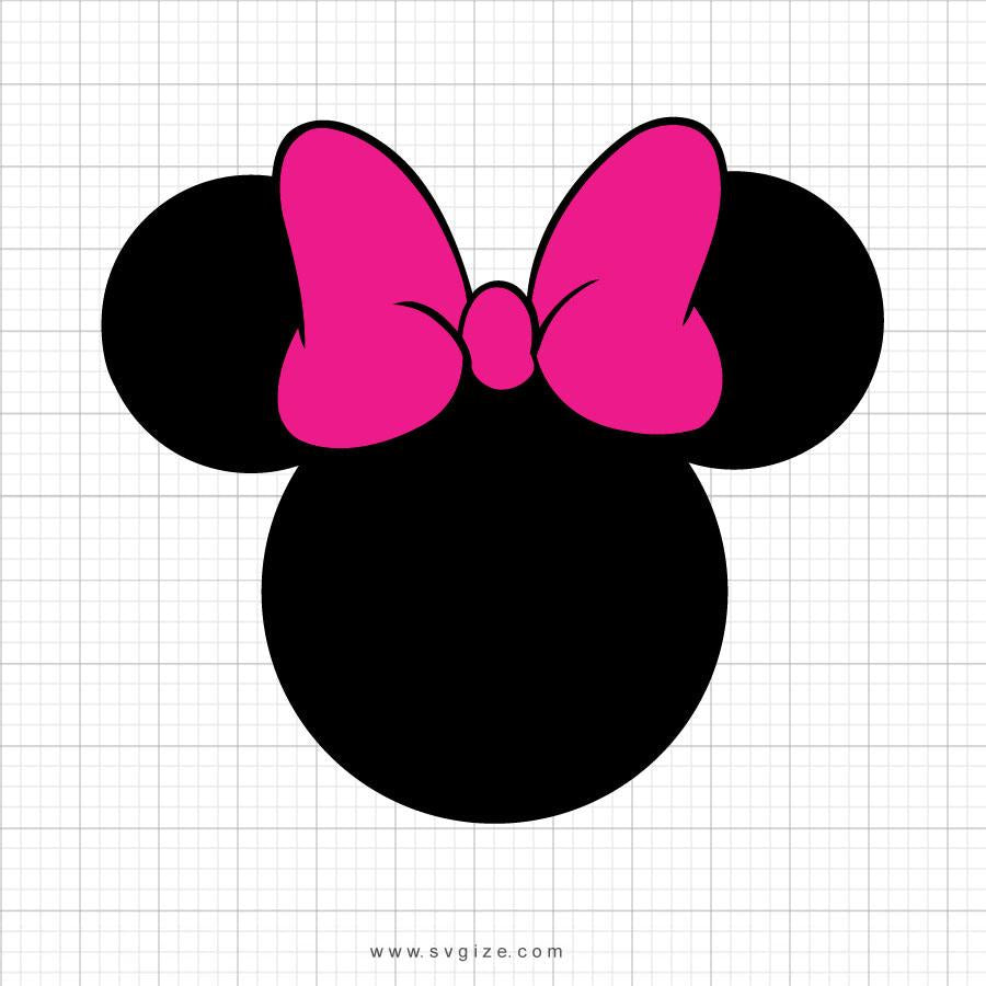 Minnie Mouse Head Pink Bow Svg Clipart - svgize