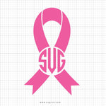 Pink Ribbon Monogram Svg Clipart - svgize