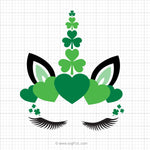 St Patrick's Day Unicorn Head SVG Clipart