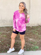 Load image into Gallery viewer, Lounge Around Magenta Tie Dye Pullover - Mask Set