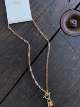 Load image into Gallery viewer, Lock Paperclip Link Gold Necklace