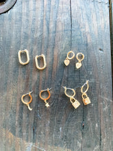 Load image into Gallery viewer, Lock Huggie Gold Earrings