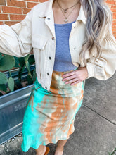 Load image into Gallery viewer, Sherbet Skies Satin Tie Dye Jade Midi Skirt