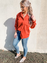 Load image into Gallery viewer, Happy Hour Coral Corduroy Oversized Button Up Shirt