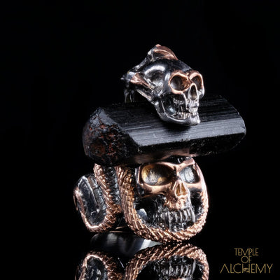 Crystal Skull Ring : Black Tourmaline - jewelry - Temple of Alchemy - 1