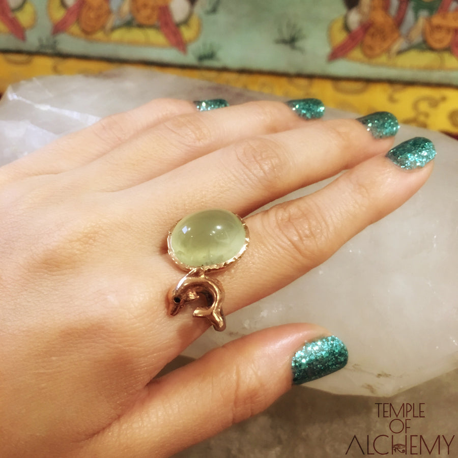 Dolphin Totem Ring : Prehnite with Black Spinel - jewelry - Temple of Alchemy - 1