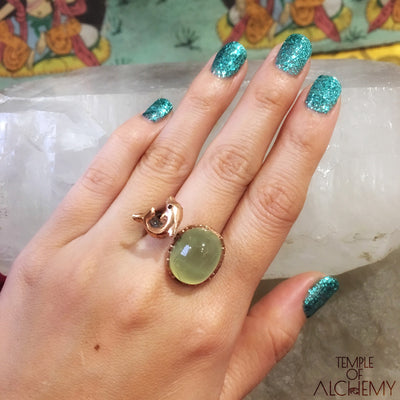 Dolphin Totem Ring : Prehnite with Black Spinel - jewelry - Temple of Alchemy - 3