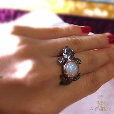 Spirit Animal Ring : Opal with Blue Sapphire - jewelry - Temple of Alchemy - 10