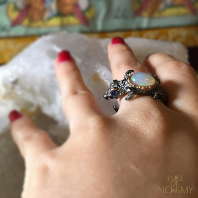 Spirit Animal Ring : Opal with Blue Sapphire - jewelry - Temple of Alchemy - 12