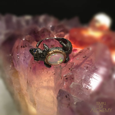 Spirit Animal Ring : Opal with Blue Sapphire - jewelry - Temple of Alchemy - 8