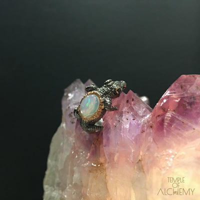 Spirit Animal Ring : Opal with Blue Sapphire - jewelry - Temple of Alchemy - 1