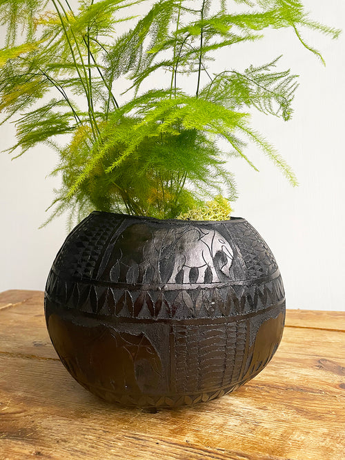Black Calabash Carved Plant Pot