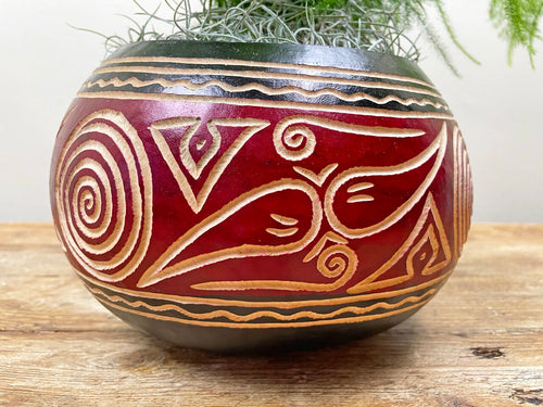 Close up of red and black calabash plant pot