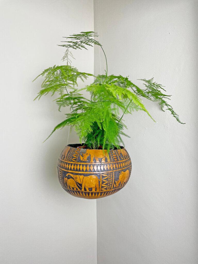 Hanging calabash basket hand carved in Kenya