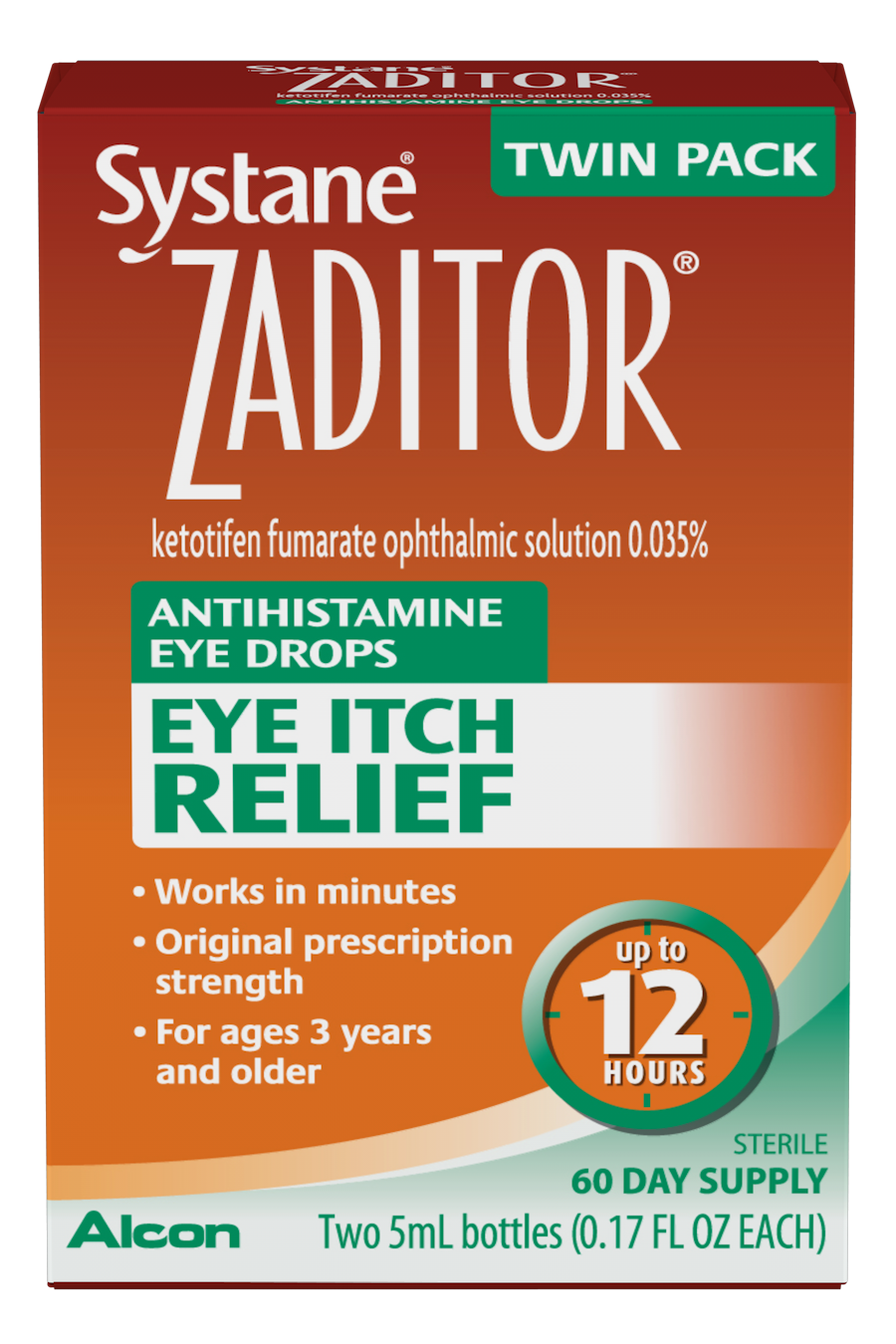 Zaditor Twin Pack Eye-Drops 0.34 Oz Bottles Each