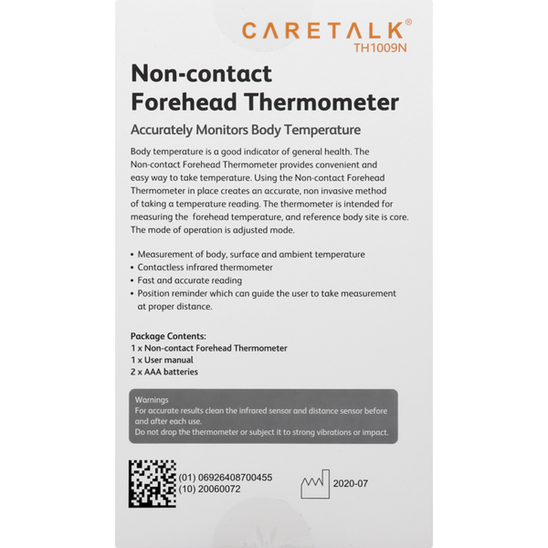 CareTalk Non-Contact Infrared Forehead Thermometer, Illuminated LCD with 9 Memories, White/Gray