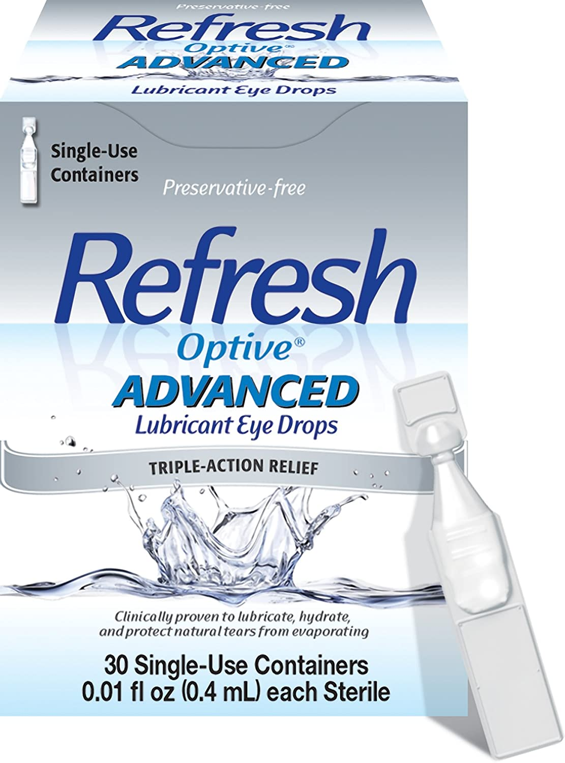 Refresh Optive Advanced Lubricant Eye Drops, 30ct