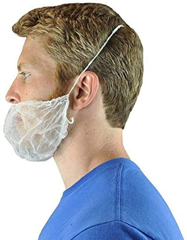 White Disposable Beard Net Covers with Elastic Bands - Nonwoven Latex Free Spunbond, Safe & Clean Work Environment, 100 PC