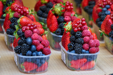 fresh mixed fruit in a plastic container