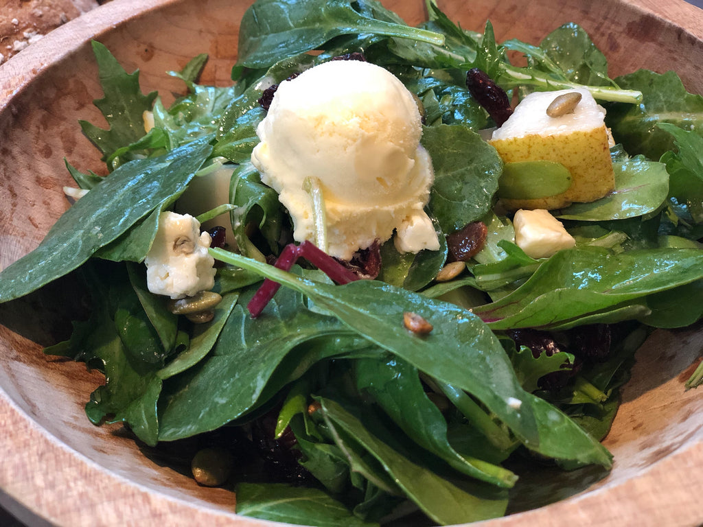 Pear and Candied Pepitas Salad garnished with Blue Cheese Ice Cream