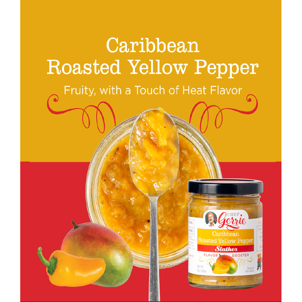 Chef Gerrie's Gourmet Slathers, Caribbean Roasted Yellow Pepper, 9 oz. Jar (3 pack)